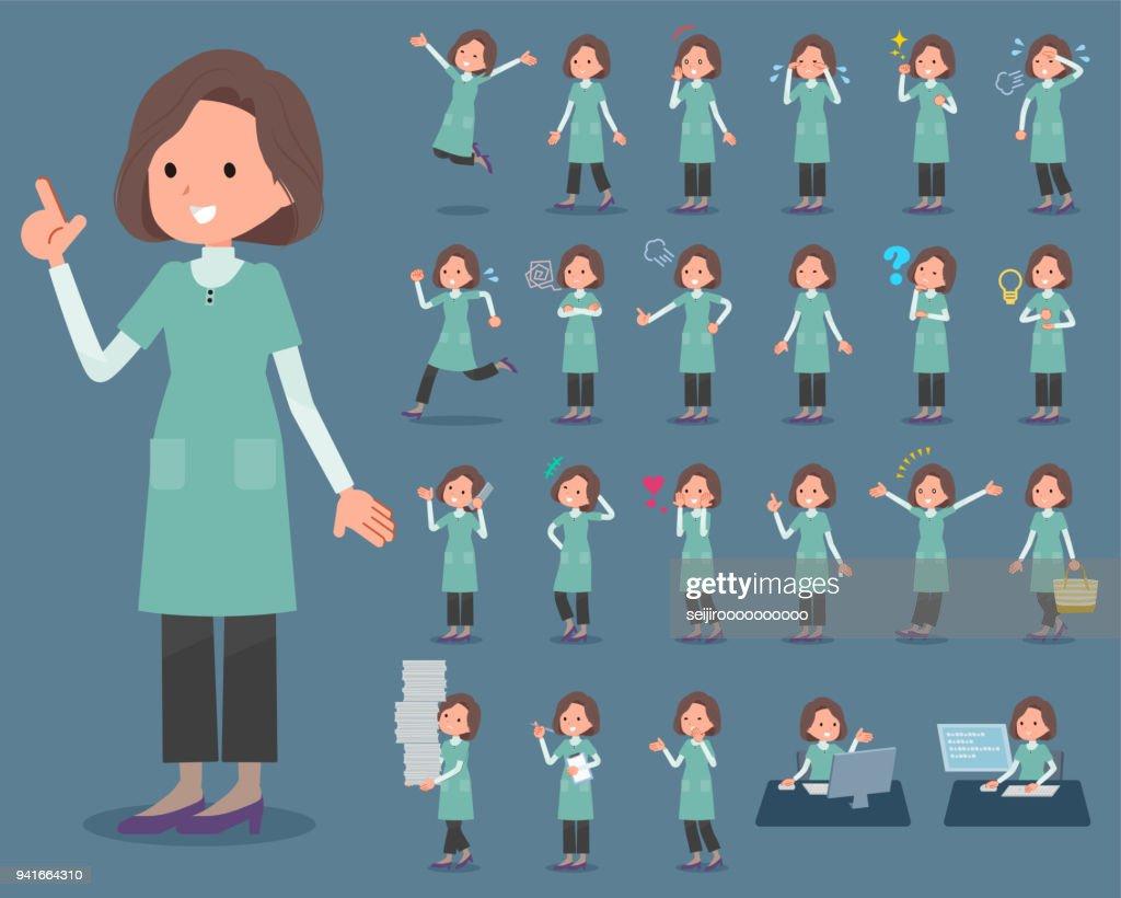 flat type Blue green tunic Middle women_1