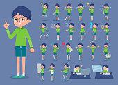 flat type Green clothing glasses boy_1