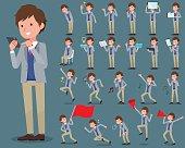 flat type Jacket blue vest men_2