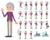flat type Purple clothes grandmother_emotion