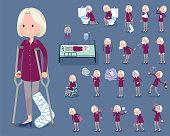 flat type purple shirt old women White_sickness