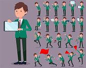 flat type school boy Green Blazer_2
