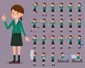 flat type school girl Green Blazer_1