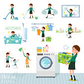 flat type school girl Green Blazer_housekeeping