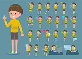 flat type Yellow clothes Bob hair boy_1
