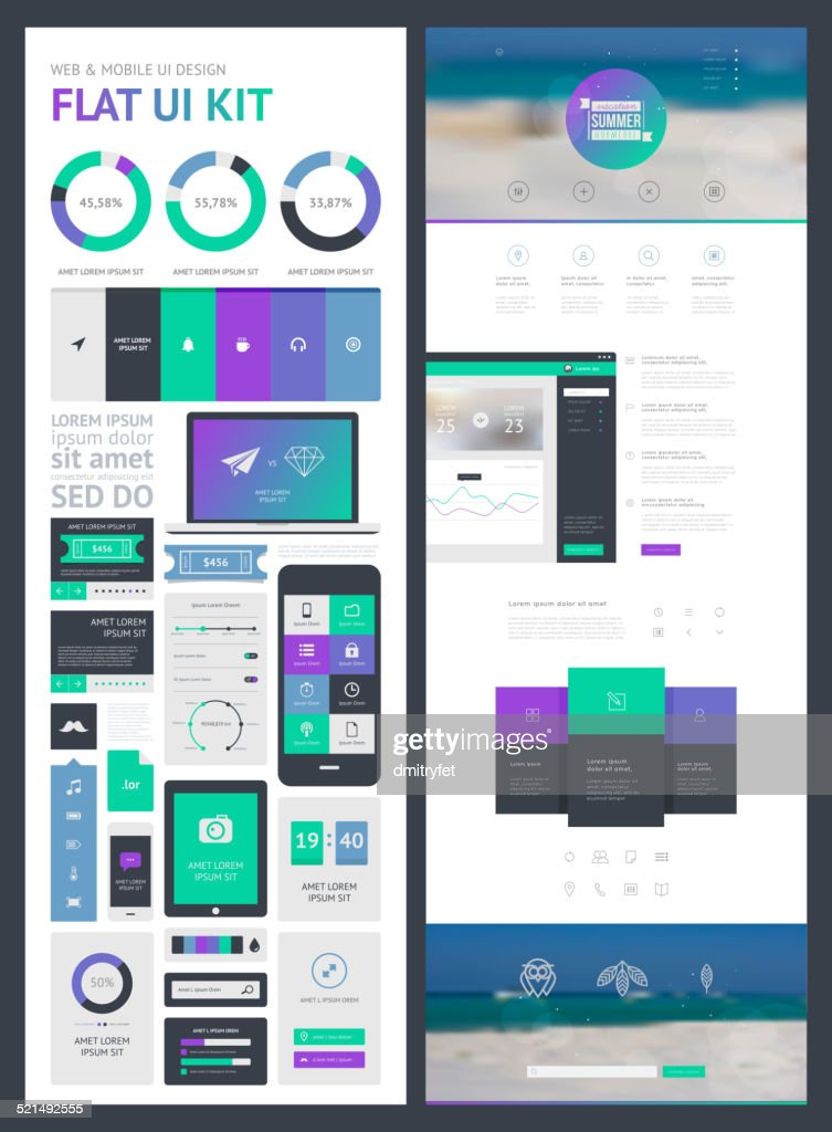 flat UI kit for web and mobile, UI design, page