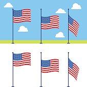 Flat USA flags vector set