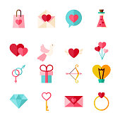 Flat Valentine Day Objects Set isolated over White