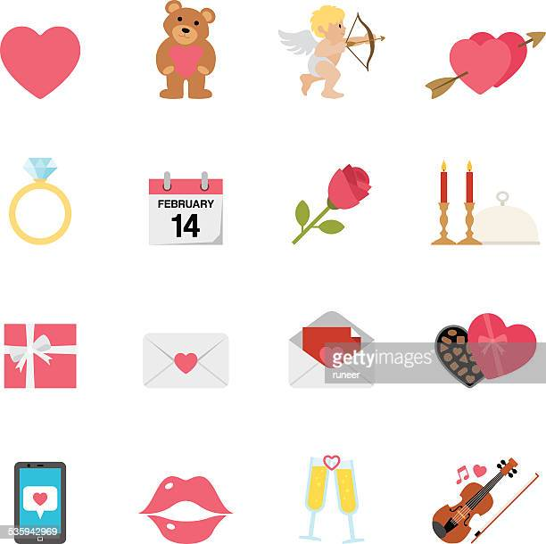 flat valentine's day icons | simpletoon series - cupid stock illustrations