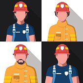 Flat vector avatars of fire fighters