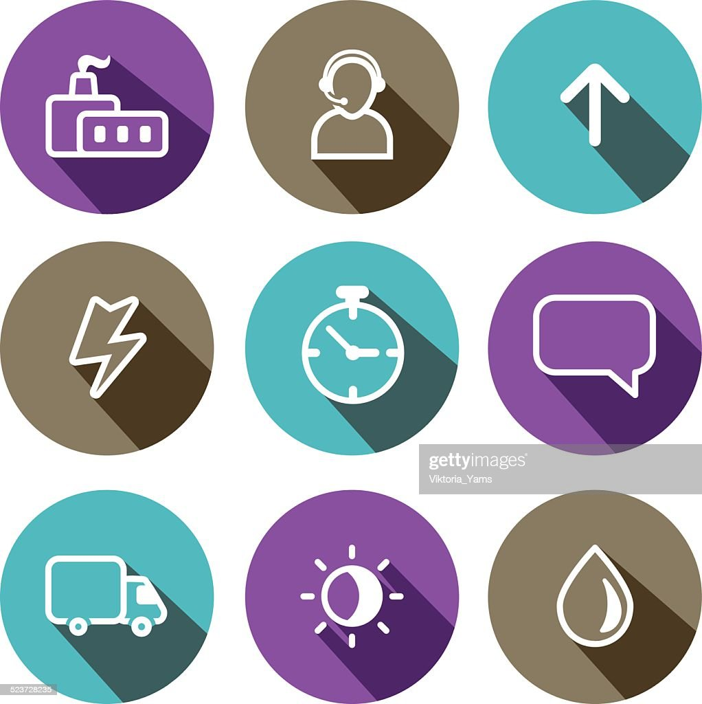 Flat vector business multicolored icons set