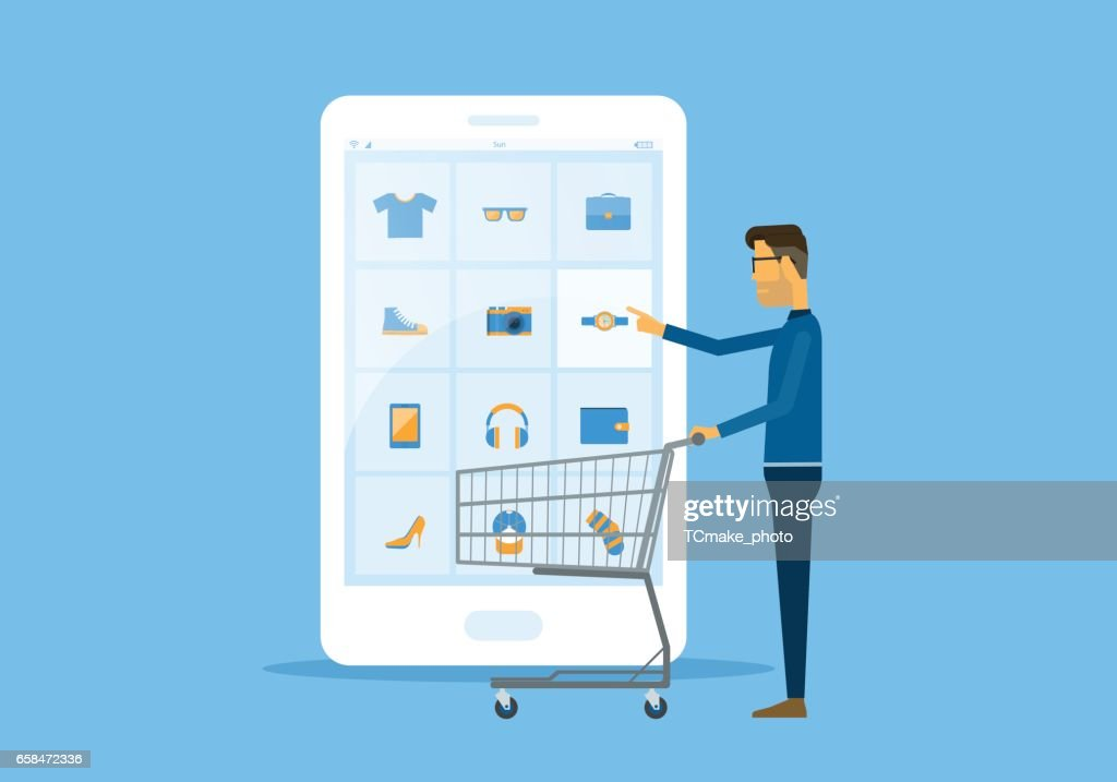 flat vector business online shopping and ecommerce concept with businessman touching on smart phone