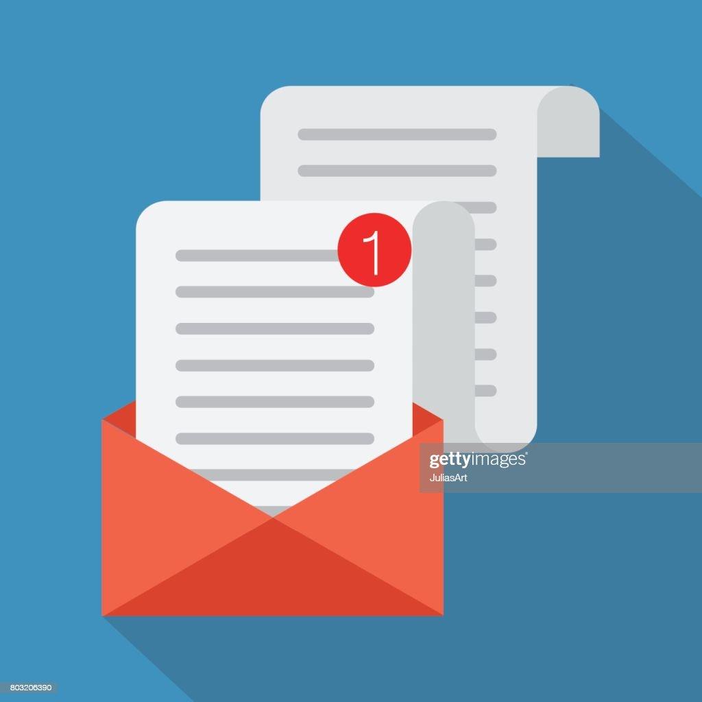 Flat Vector Cartoon Illustration Open Envelope Vector Illustration