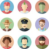 Flat vector characters. Set of male faces. Man avatar collection