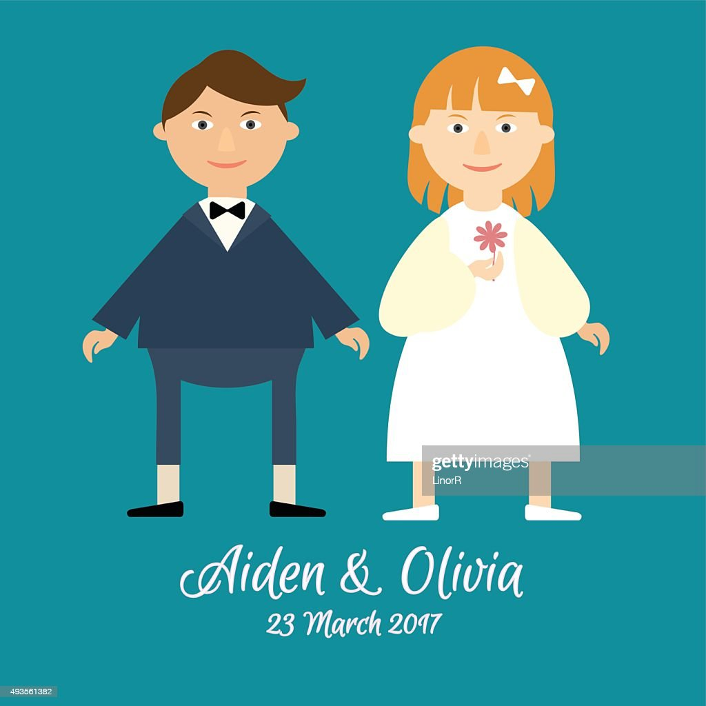 Flat vector cute couple in love celebrating a wedding