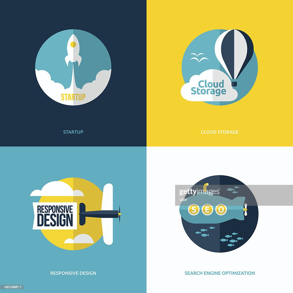 Flat vector design with rocket, air balloon, plane and submarine
