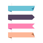 Flat vector four horizontal ribbons arrows and pointers banners.
