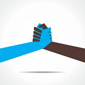 Flat vector graphic of 2 differently colored hands grasping