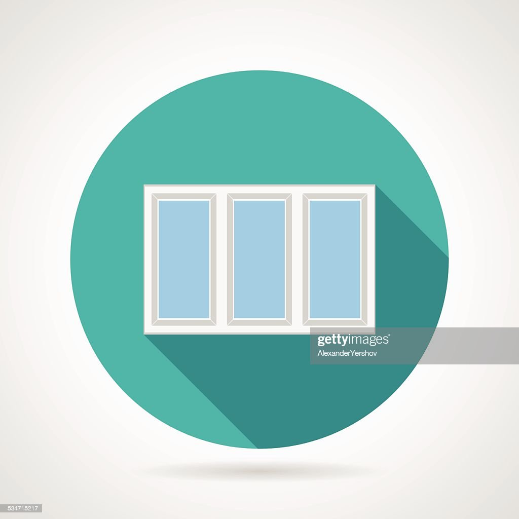Flat vector icon for triple plastic window
