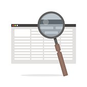 flat Vector icon - illustration of document Search icon