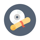 EDUCATIONAL DISC flat vector icon