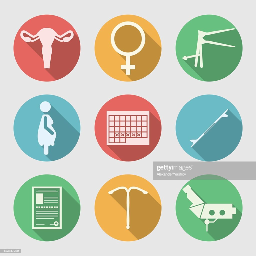 Flat vector icons for Obstetrics and Gynecology