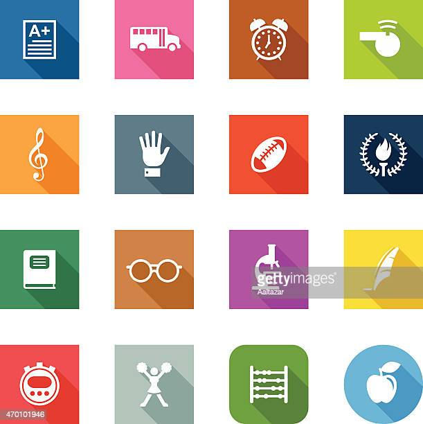 Flat vector icons relating to school