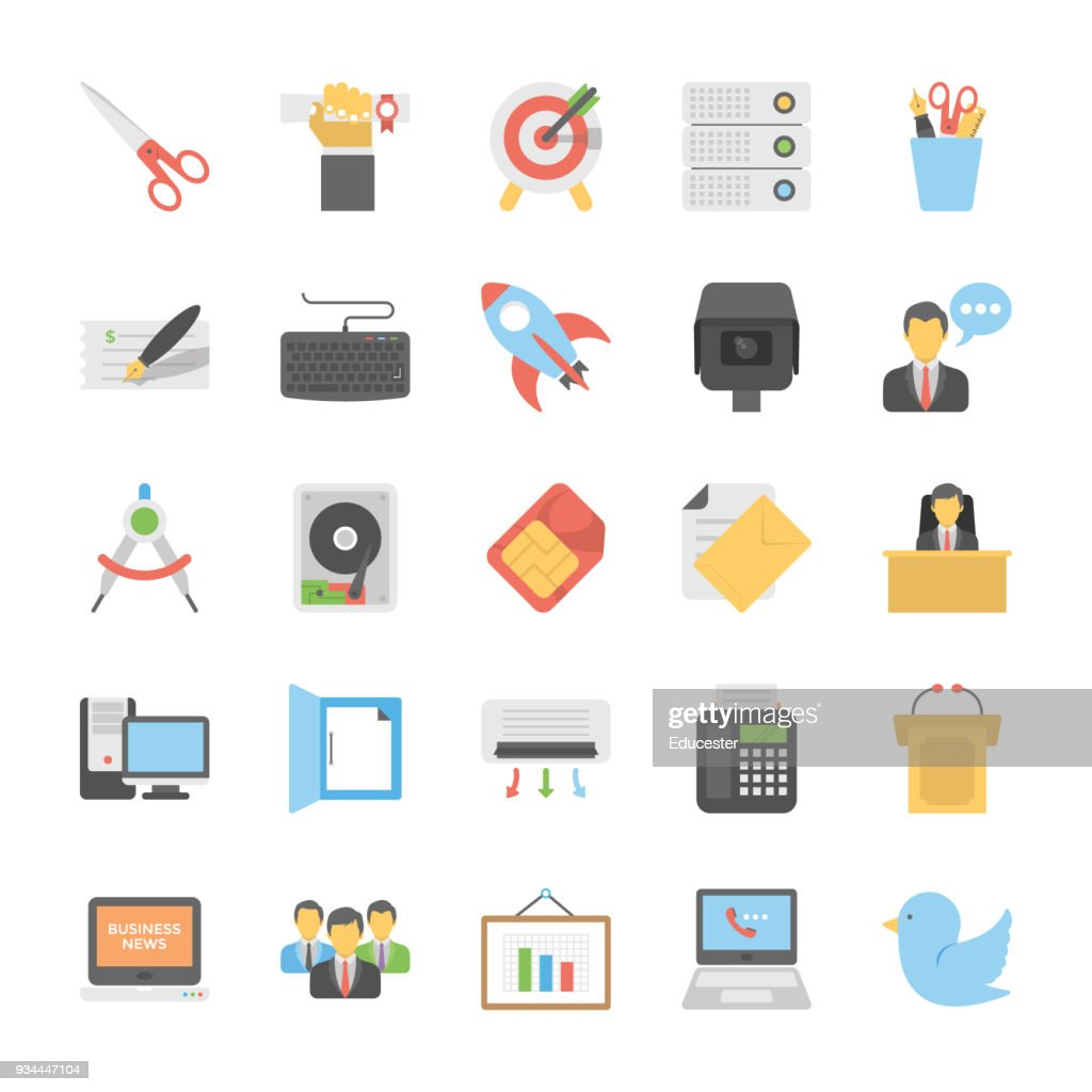 Flat Vector Icons Set Of Office and Internet
