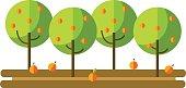 Flat vector illustration apple orchard and harvest fruit