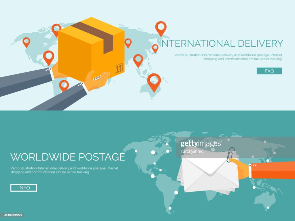 Flat vector illustration backgrounds set. International delivery and worldwide postage