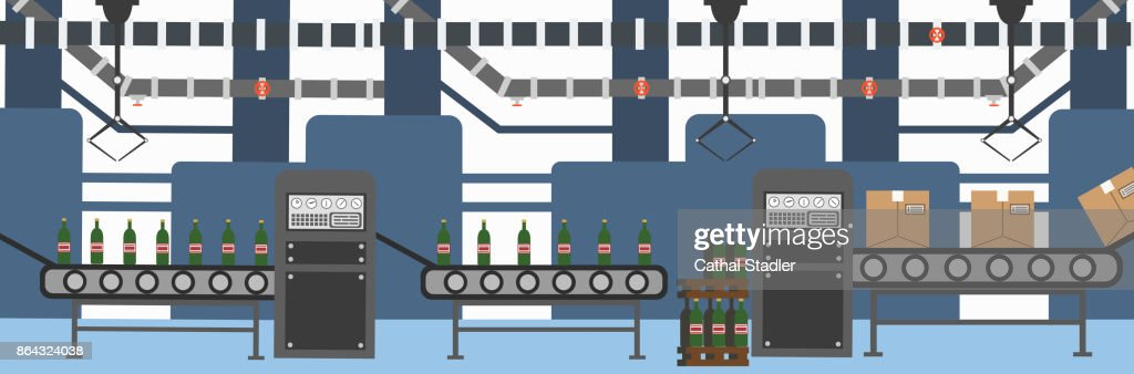Flat vector illustration factory production of beverages