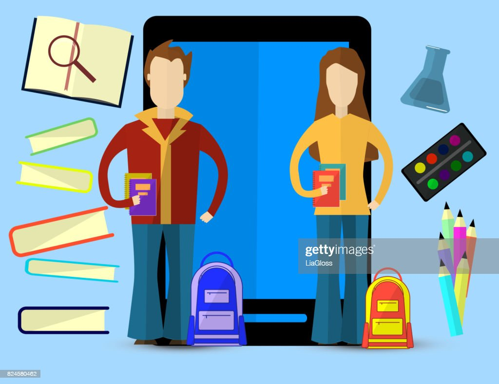 Flat vector illustration for e-learning and online education with Men and Women. Education infographic.