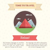 Flat vector illustration of a tent on a mountain background.