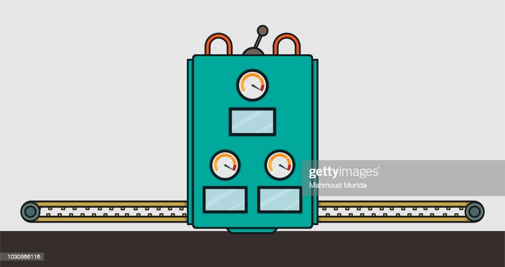 A Flat Vector Illustration Of Factory Machine