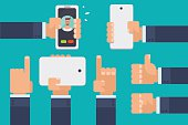 Flat vector illustration of many hands holding smartphones and tablets.