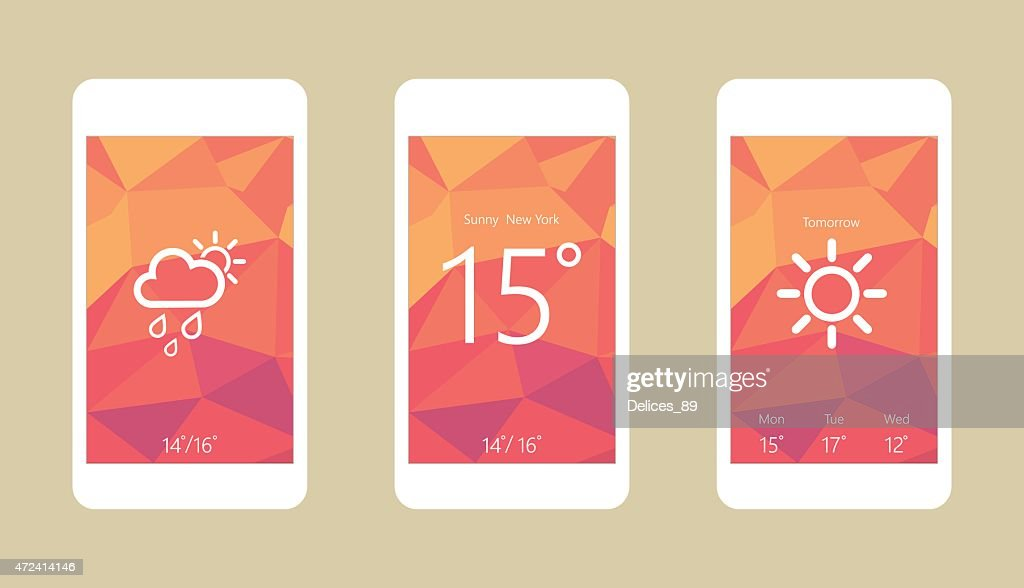Flat vector illustration of modern mobile phone with interface elements