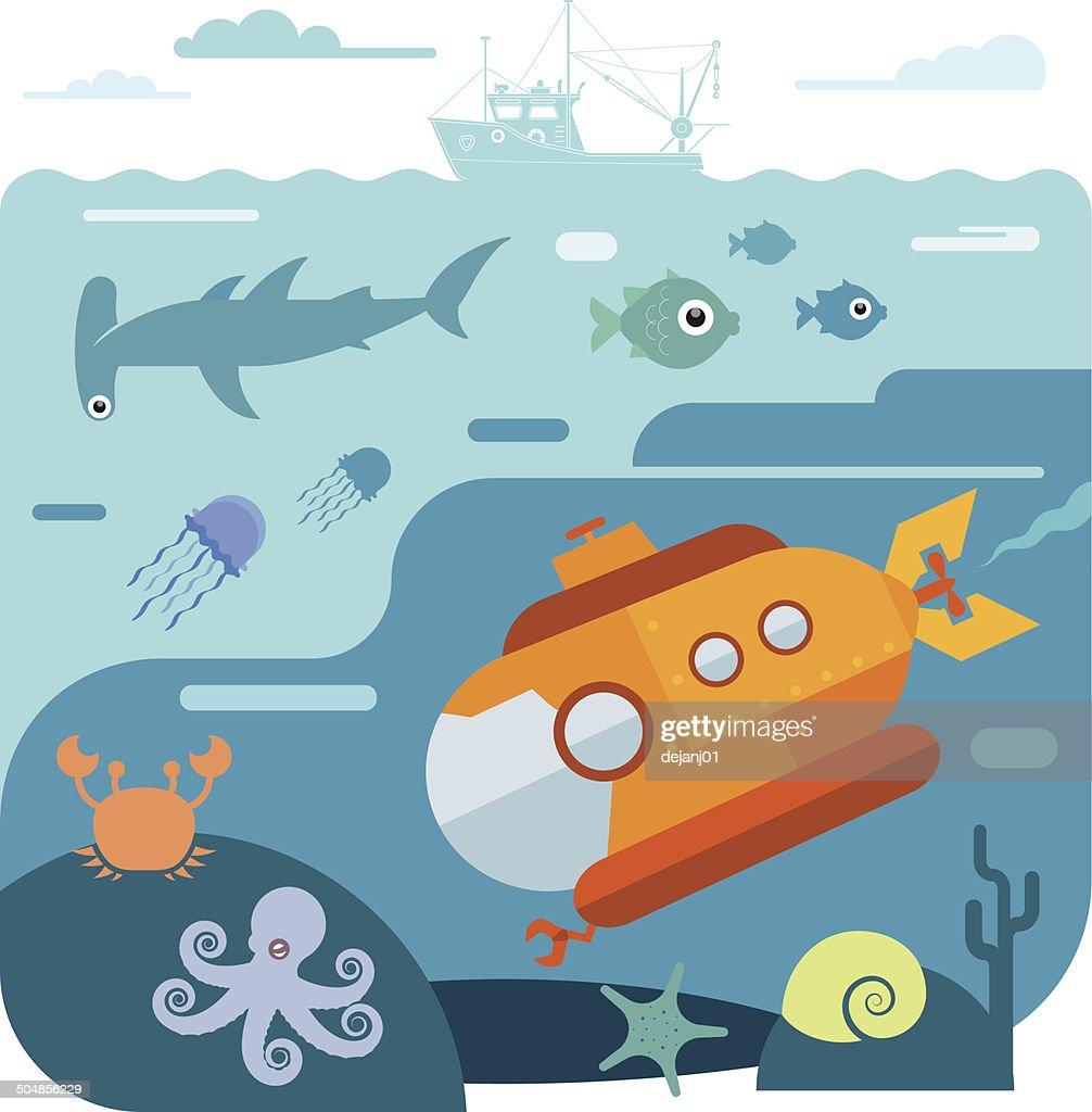 Flat vector illustration of underwater sea life