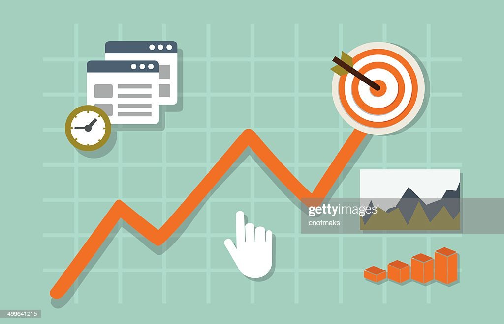 Flat vector illustration of web analytics information and development