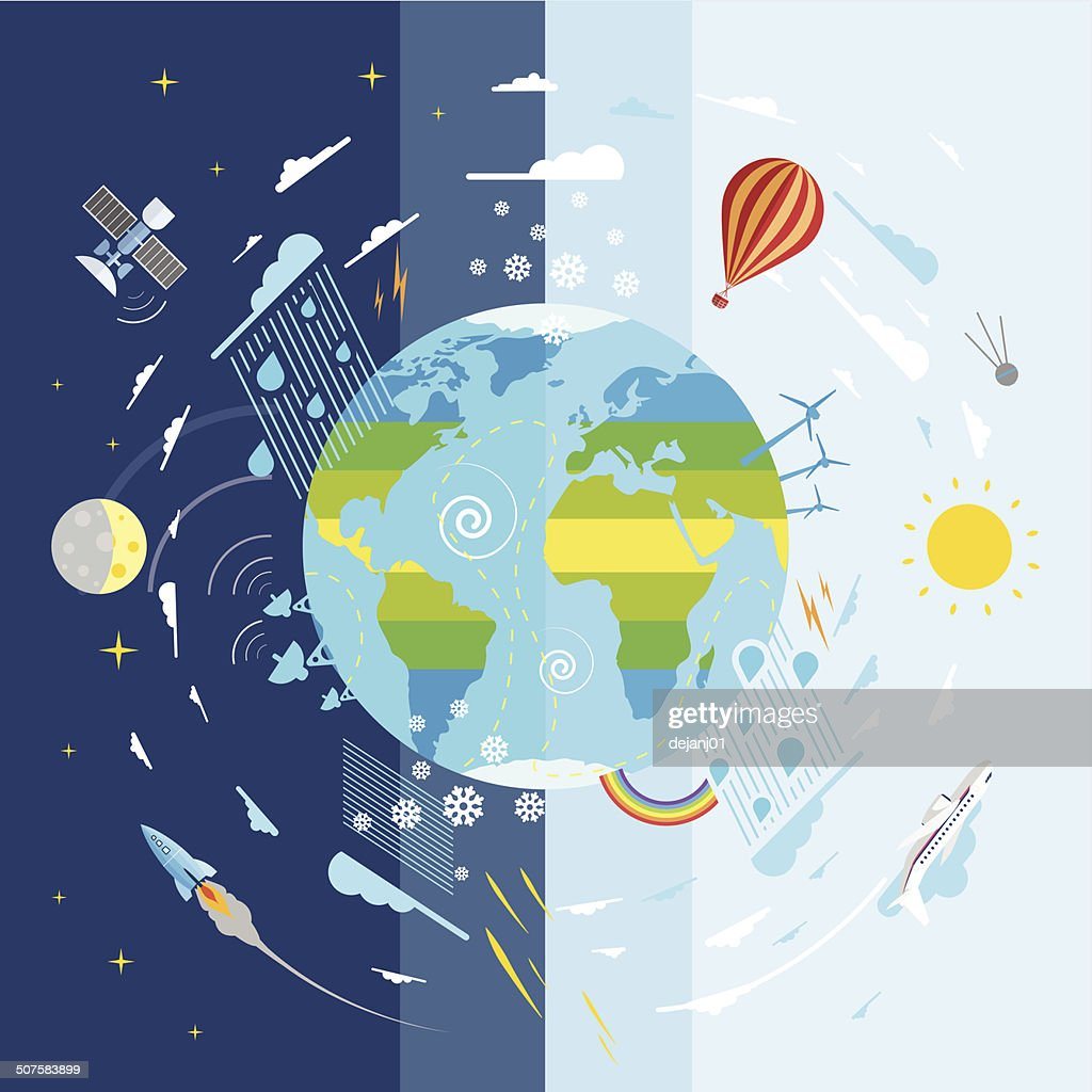 Flat vector illustration weather conditions