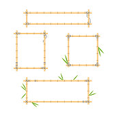 Flat vector illustration with wood stick frame background collection. Handmade tropical bamboo branch with leaves and ropes for holiday posters and jungle signboards.