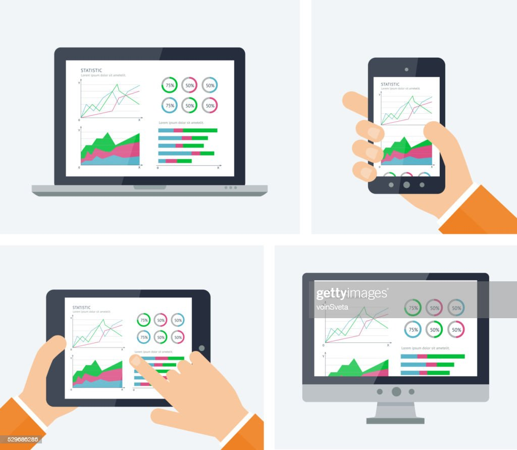 Flat vector infographic with graphs and charts elements on screens