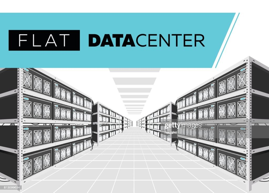 Flat Vector Isolated Illustration of Data Center in Perspective. Grey Computer Racks.