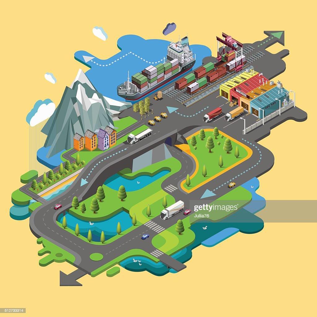 Flat vector map landscape; parks; buildings; seating area