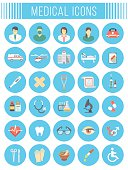 Flat vector medical and healthcare icons