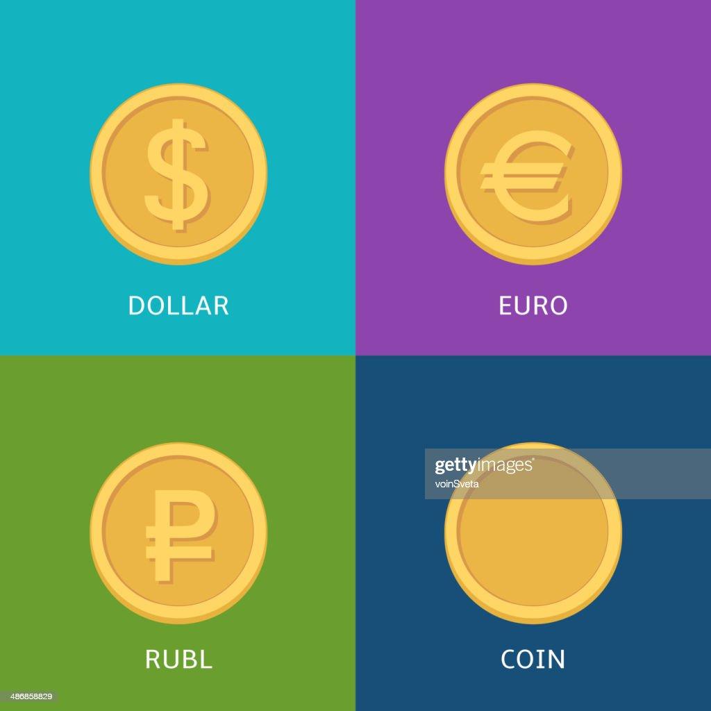 Flat vector money icons