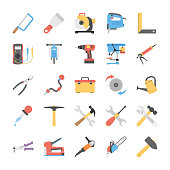 Flat Vector Power Tools Icons Set
