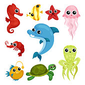 Flat vector set of cute marine animals. Sea star and horse, jellyfish, dolphin, turtle and octopus. Elements for children book or sticker