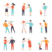 Flat vector set of quarreling people. Loud public scandal. Men and women screaming at each other. Negative emotions and disagreements