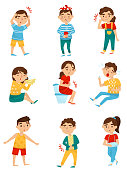 Flat vector set of sick children. Little boys and girls with different sicknesses. Cold, tooth pain, allergy or influenza, stomach ache, broken arm