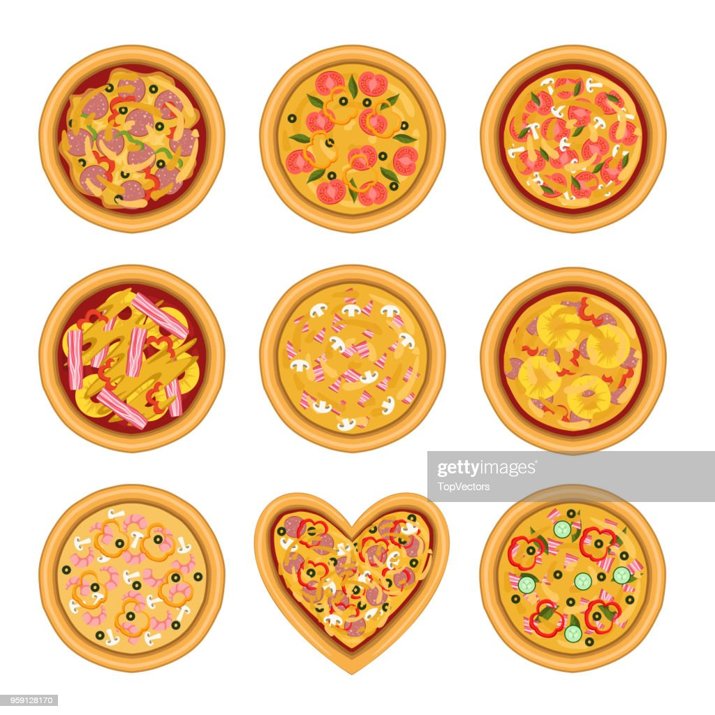 Flat vector set of tasty pizza with different ingredients. Delicious fast food. Traditional Italian dish